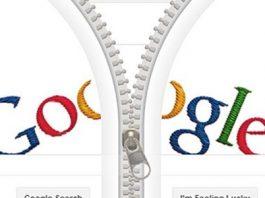 logotipo de google con una cremallera