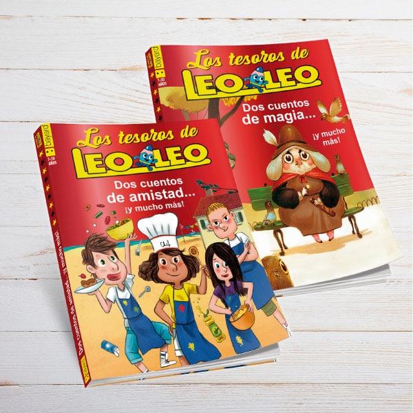 Un niño consulta las páginas de Leoleo de Bayard Revistas.